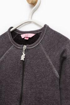 100% cotton sweatshirt with raglan sleeves, Dark Grey Marl, hi-res