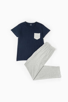 Solid colour pyjamas with pocket, Navy Blue, hi-res