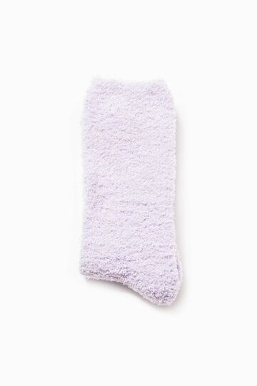 Solid colour stretch short socks, Lilac, hi-res