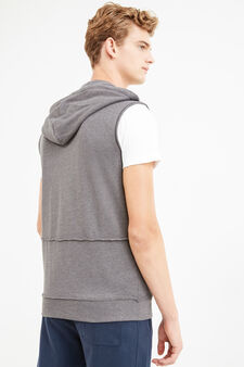 Sleeveless hoodie, Dark Grey, hi-res