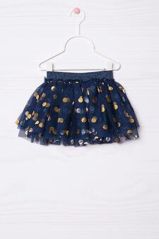 Patterned lined skirt, Blue, hi-res