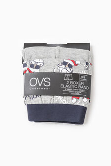 Two-pack boxer shorts solid colour and Father Christmas, Light Grey, hi-res