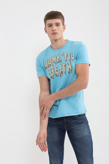T-shirt puro cotone con stampa lettering, Azzurro, hi-res