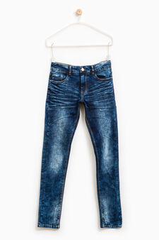 Jeans slim fit stretch effetto used, Blu, hi-res