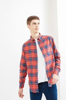 Casual tartan shirt in cotton, Blue/Red, hi-res
