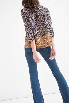 Patterned blouse in 100% cotton, Blue/Orange, hi-res