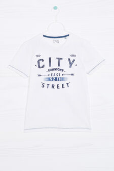 100% cotton T-shirt with print, White, hi-res