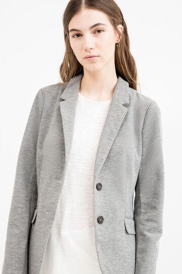 Cotton blend two-button blazer, Grey, hi-res