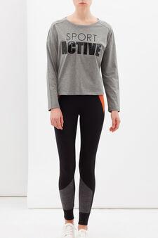 T-shirt sportiva misto cotone, Nero/Grigio, hi-res