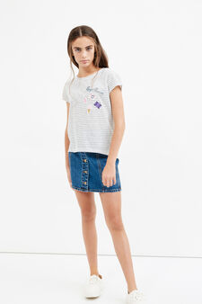 Striped Teen T-shirt with patches, White/Black, hi-res