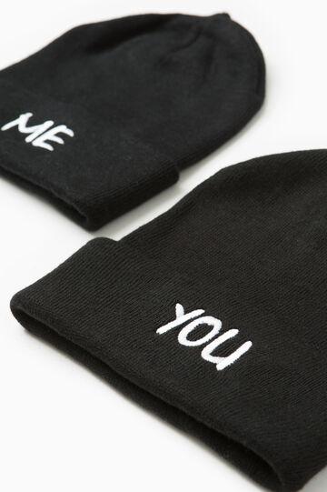 Set due cappelli ricami lettering, Nero, hi-res