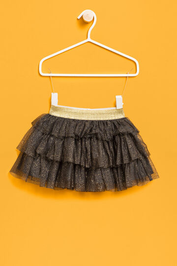 Flounced skirt in glitter tulle, Dark Grey, hi-res