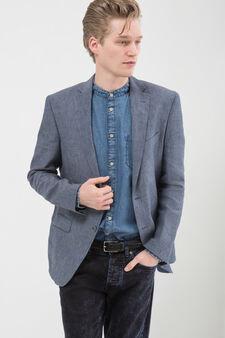 Giacca puro lino regular fit, Blu chiaro, hi-res