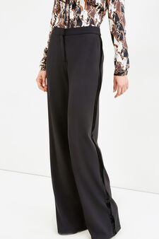 Trousers with velvet side band, Black, hi-res