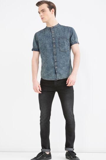 Camicia jeans slim fit collo coreana, Denim, hi-res