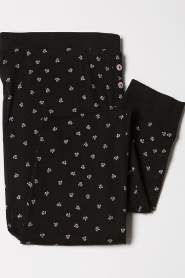 Cotton patterned pyjama trousers, Black/Pink, hi-res