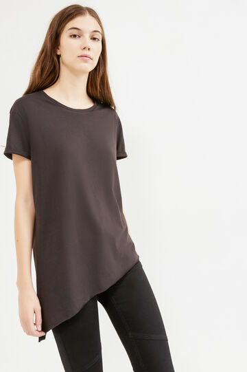Raw-cut T-shirt with asymmetric hem, Black, hi-res