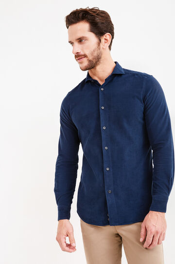 Solid colour slim-fit cotton Rumford shirt, Dark Blue, hi-res