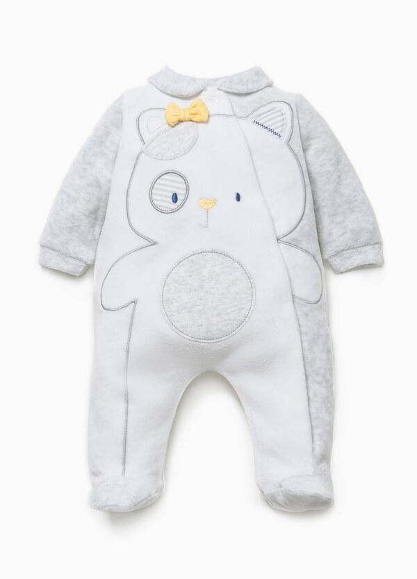 Two-tone onesie with teddy bear embroidery | OVS