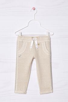 Pantaloni misto cotone con lurex, Beige chiaro, hi-res