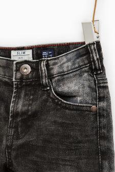 Jeans slim fit stretch effetto used, Grigio, hi-res