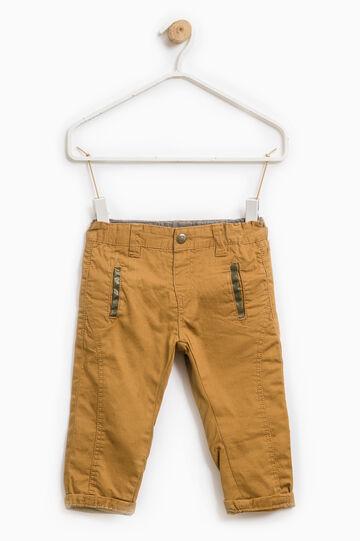 Pantaloni puro cotone tinta unita, Giallo senape, hi-res