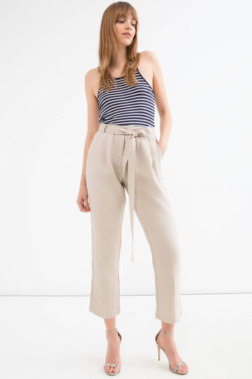 Solid colour linen blend trousers, Sand, hi-res