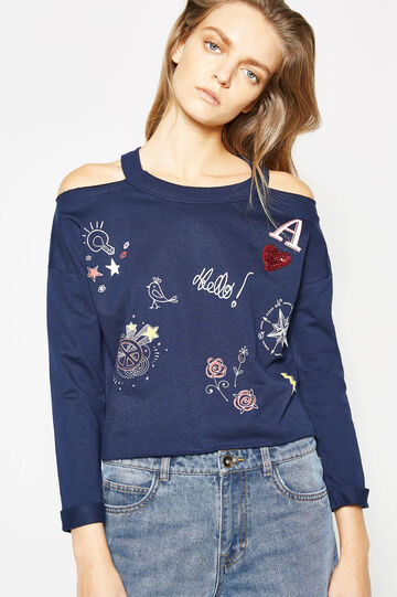 Sweatshirt in cotton with print and sequins, Navy Blue, hi-res