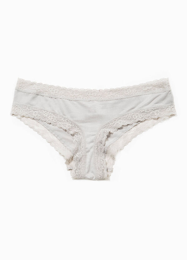 Stretch viscose French knickers with lace | OVS