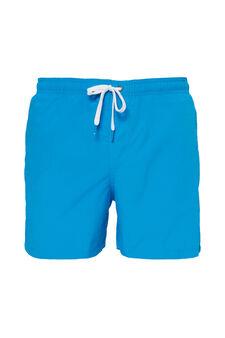 Solid colour swim boxer shorts, Soft Blue, hi-res