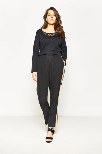 Curvy trousers with contrasting bands, Black, hi-res