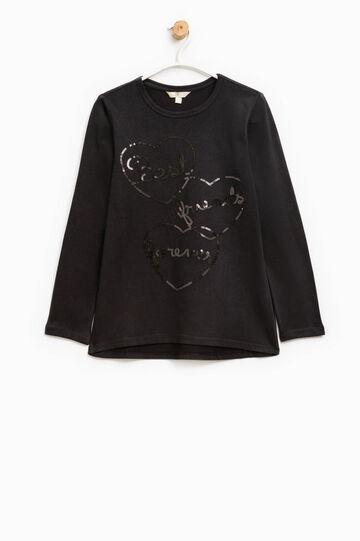 T-shirt girocollo in puro cotone, Nero, hi-res