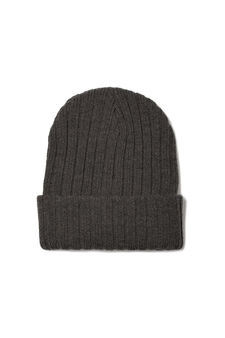 Ribbed knitted beanie cap, Slate Grey, hi-res