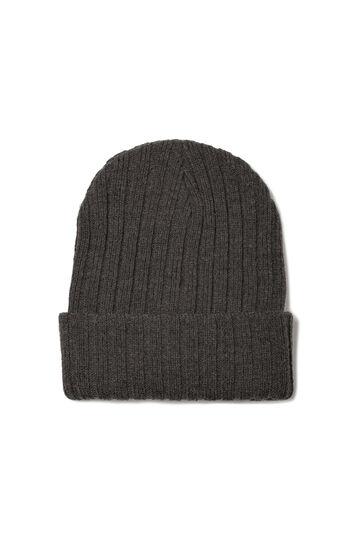 Ribbed knitted beanie cap, Slate Grey, hi-res