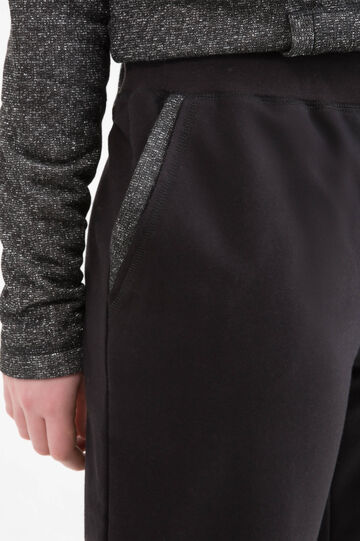 Curvy cotton blend joggers, Black, hi-res