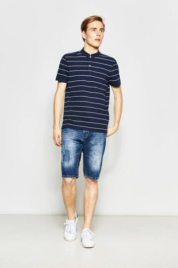 Straight fit denim Bermuda shorts with patch