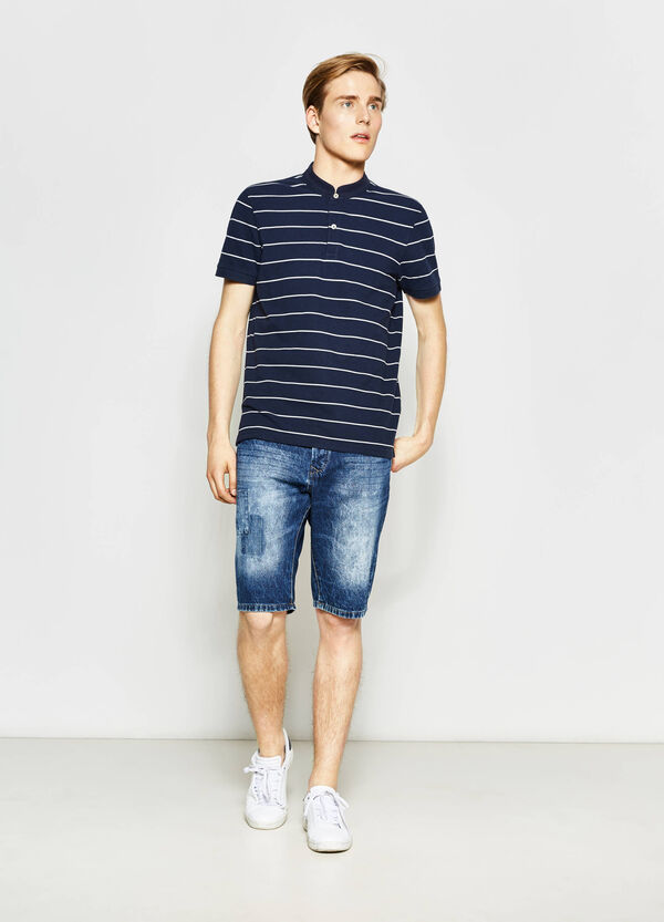 Straight fit denim Bermuda shorts with patch | OVS