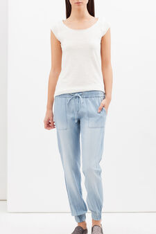 Regular fit jeans with lace tie, Light Wash, hi-res