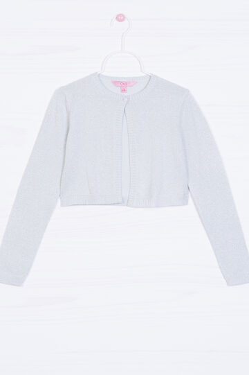 Cotton and lurex blend short cardigan, Grey, hi-res