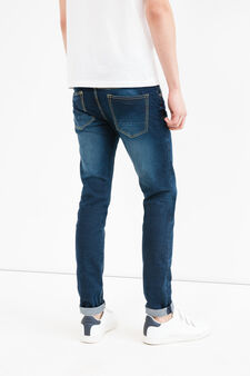 Skinny fit jeans with stitching in contrasting colour, Denim, hi-res