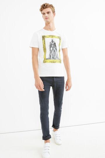 100% cotton T-shirt with superhero print, White, hi-res