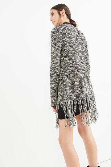 Knit cardigan with shawl neck and fringe, White/Black, hi-res