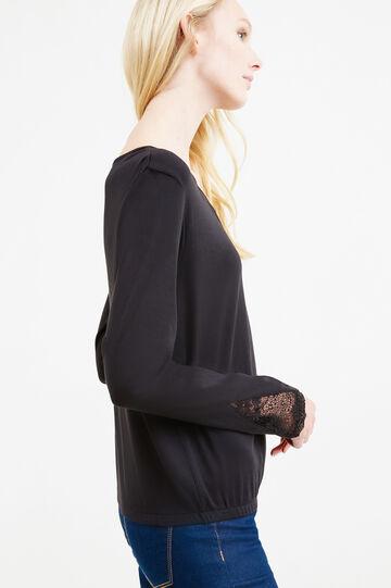T-shirt con pizzo e fondo elasticato, Nero, hi-res