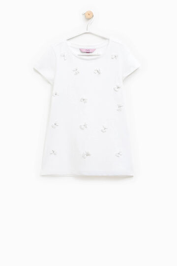 Cotton T-shirt with tulle flowers and diamantés, Cream White, hi-res