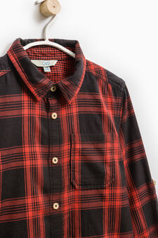 Check cotton shirt with long sleeves, Red, hi-res