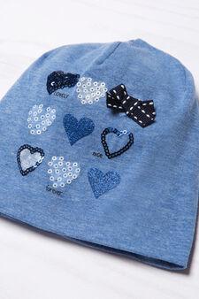 Sequinned beanie cap, Blue, hi-res