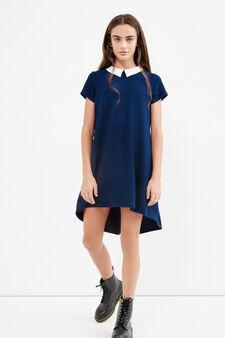 Teen short dress with collar, Blue, hi-res