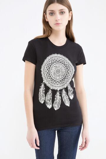 T-shirt maxi stampa cotone, Nero, hi-res