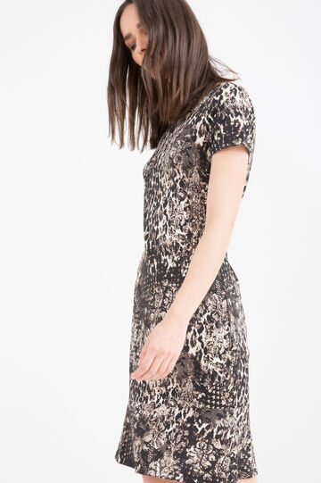 Stretch animal print dress, Brown, hi-res