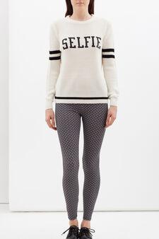 Printed stretch leggings, White/Black, hi-res